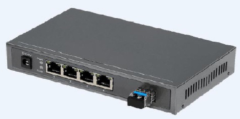 4GE-e to 1GE-op Media Converter